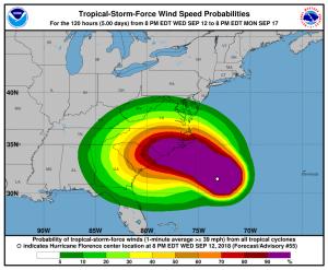 Enligt NOAA, USA:s motsvarighet till SMHI, beräknas ett högtryck i norr trycka lågtrycket Florence mot väster när det nått land. Bild: NOAA