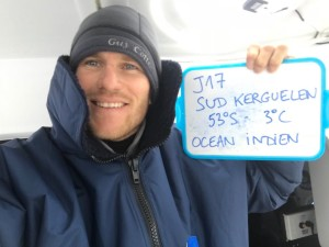 François Gabart vid Kerguelen-öarna i Södra ishavet.