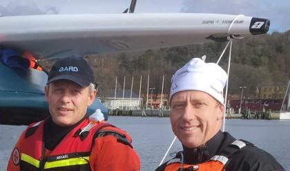 Mikael Hinnerson, SSRS, och Richard Holm, Svenska kanotförbundet, deltog i en sjöräddningsövning i Göteborgs skärgård på torsdagen.
