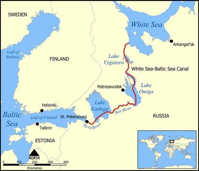 Karta över Vita havskanalen