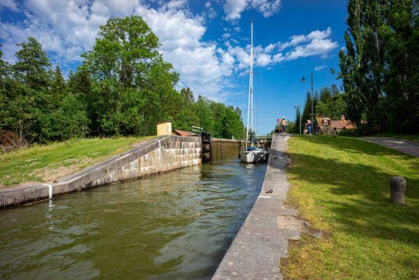 Schleuse im Götakanal, Schweden