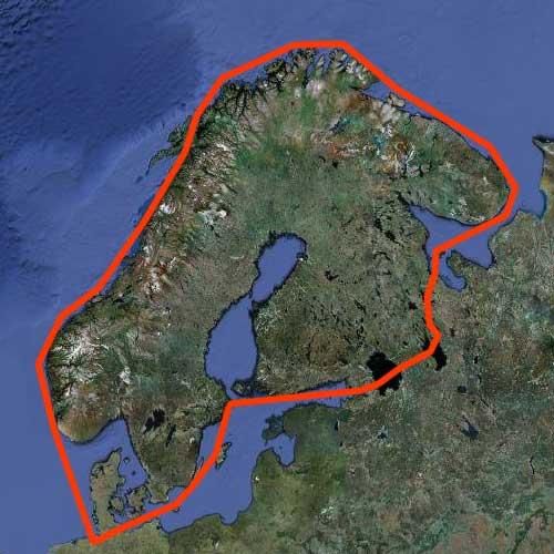 Karta Segla runt Skandinavien