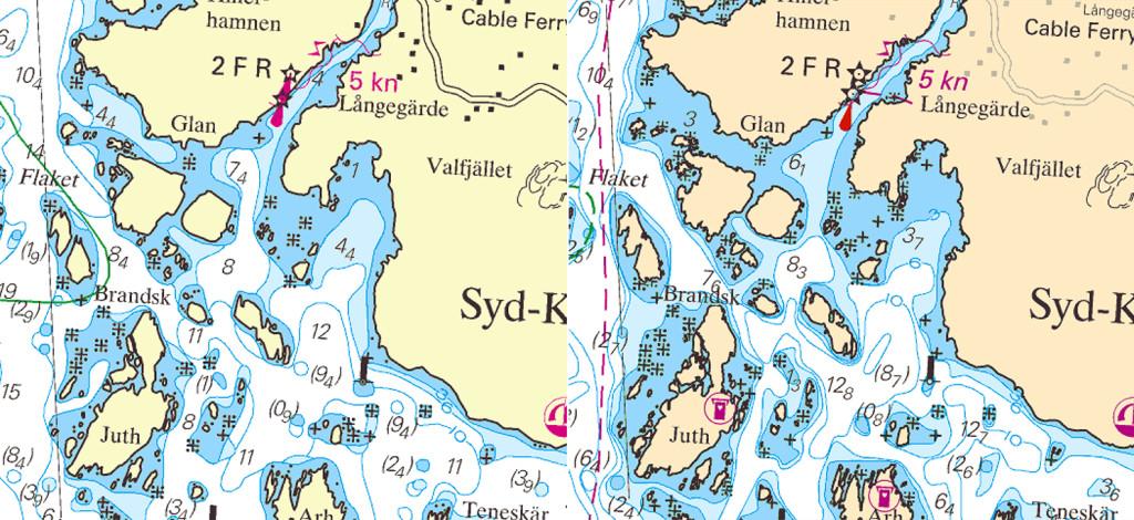 På sjökortet över Sydkoster från 2009 framstår västra Jutholmen som en mer lockande natt hamn jämfört med det uppdaterade kortet från 2017, till höger. Bild: Sjöfartsverket