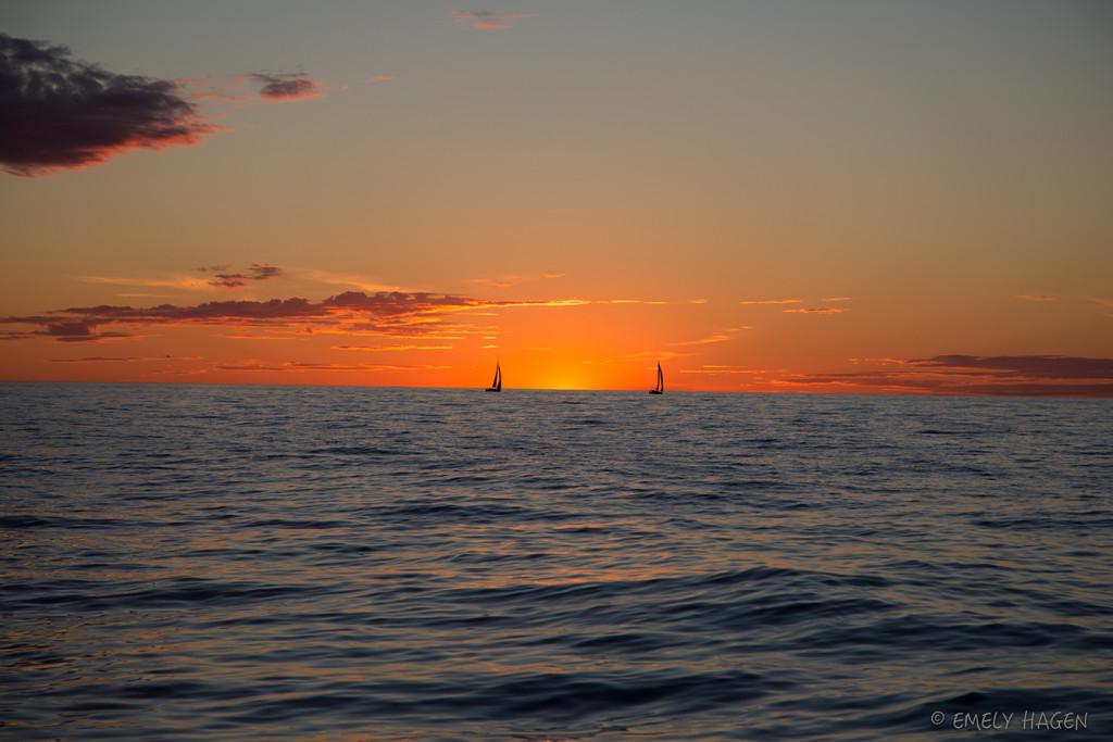 Solnedgång hav
