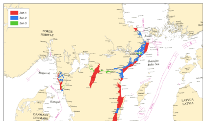 En karta över Sverige med röda markerade zoner.