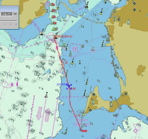 ZJAWA IV:s AIS-spår är markerat med rött. Spåret går tätt öster om ett västmärke. Fyren Falsterborev ligger strax utanför bild, nere till vänster, medan området Falsterborev ligger där AIS-spåret slutar. BILD: Sjöfartsverket
