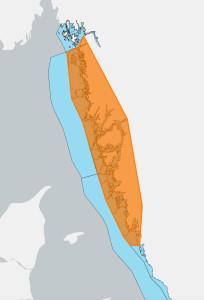 Redskapsförbud råder i det markerade området en vecka innan hummerpremiären.