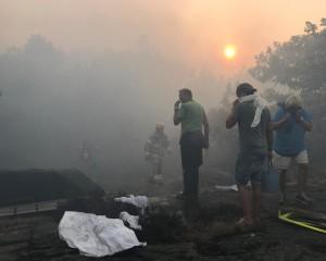 Ett 40-tal hushåll evakuerades i samband med branden. Bild: Micael Wigerud